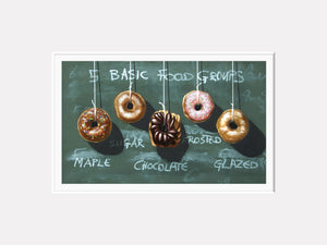 Five Food Groups, donuts, diet humor, kitchen art, Richard Hall matted print
