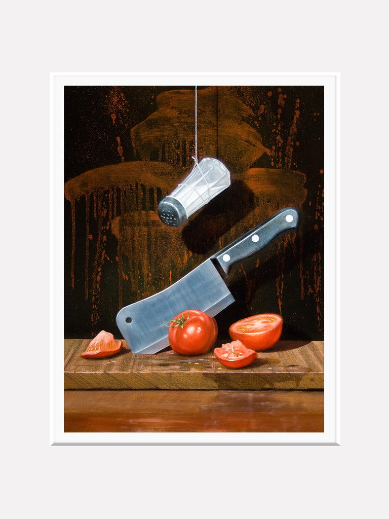 A Salt with a deadly weapon, matted view, visual pun, knife, humor, matted print, richard hall