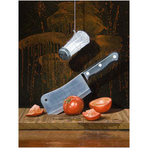 A Salt with a deadly weapon, matted view, visual pun, knife, humor, print, richard hall