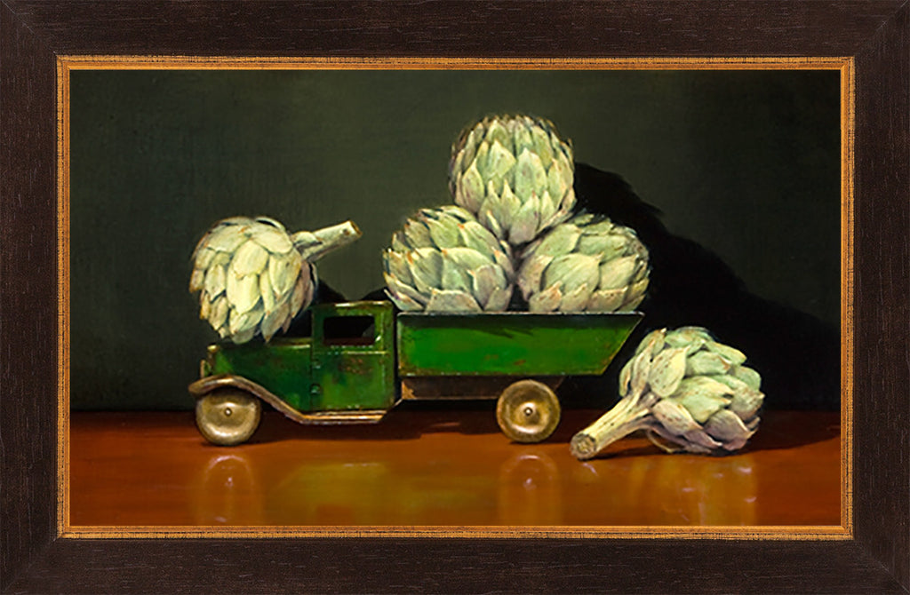 All Choked Up, truck, artichokes, framed giclee print, Richard Hall
