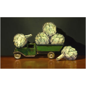 All Choked Up, truck, artichokes, canvas giclee print, Richard Hall