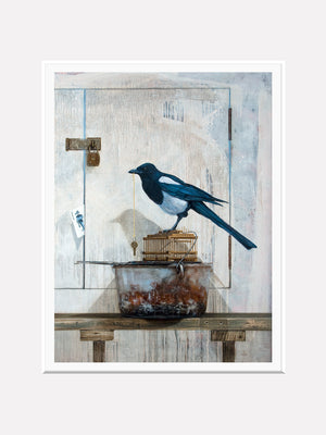 All along the watchtower, matted view, magpie, joker, mat print, richard hall