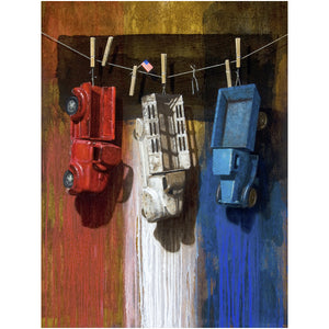 American Car Wash, trucks, red white blue, canvas print, richard hall
