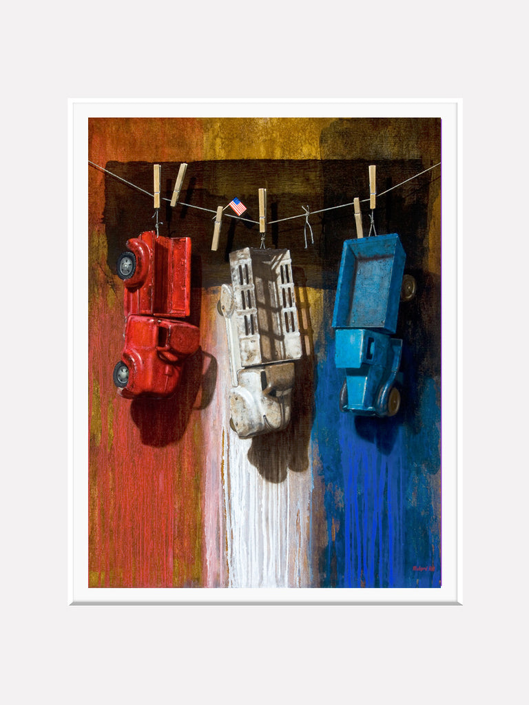 American Car Wash, trucks, red white blue, matted print, richard hall