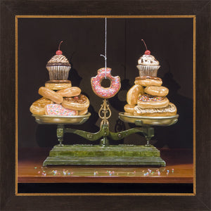 Balanced diet, scales, donuts, diet humor, framed canvas print Richard Hall