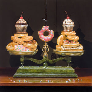 Balanced diet, scales, donuts, diet humor, canvas print Richard Hall