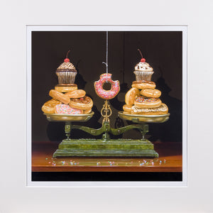 Balanced diet, scales, donuts, diet humor, matted print richard hall