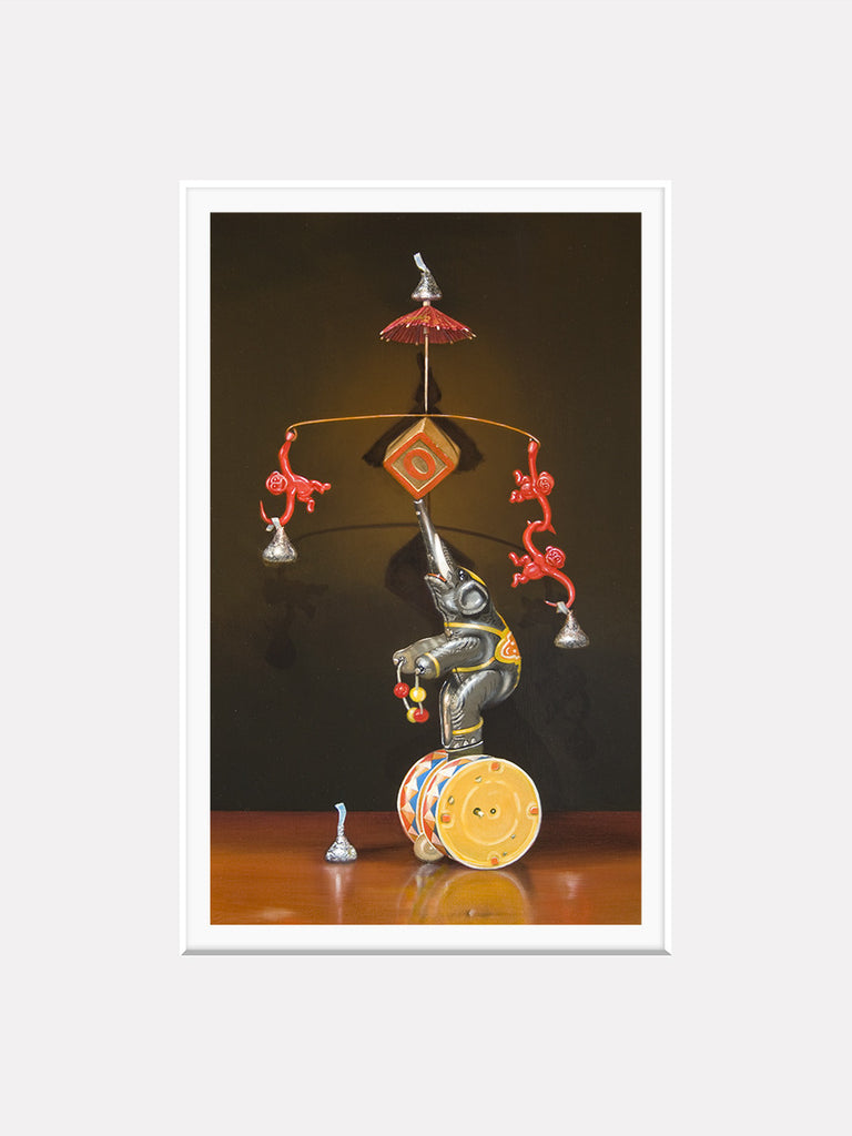 Balancing Act, Mat, circus, monkey, matted print, Richard Hall