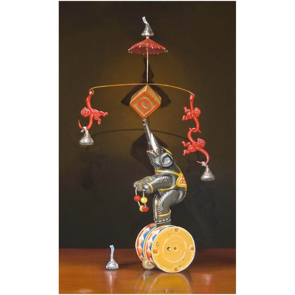 Balancing Act, Mat, circus, monkey, canvas print, Richard Hall, still life