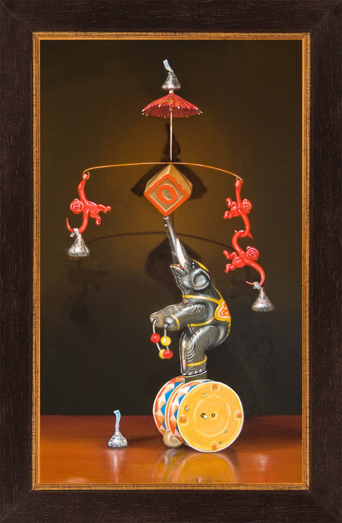 Balancing Act, Mat, circus, monkey, framed canvas print, Richard Hall