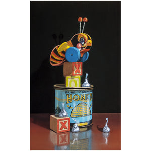 BeLoved, Buzzy bee, honey, kiss, blocks, canvas giclee print, Richard Hall Fine Art