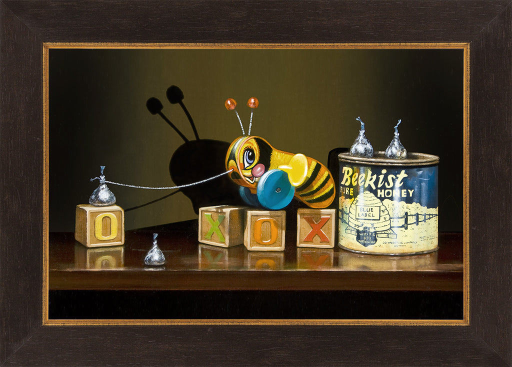 Bee Kissed, buzzy bee toy, sweet, honey, kiss, framed canvas giclee print, richard hall fine art, still life