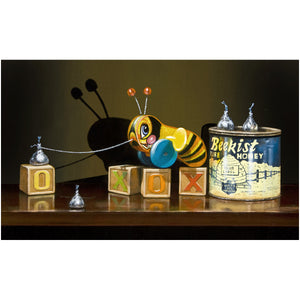 Bee Kissed, buzzy bee toy, sweet, honey, kiss, canvas giclee print, richard hall fine art, still life