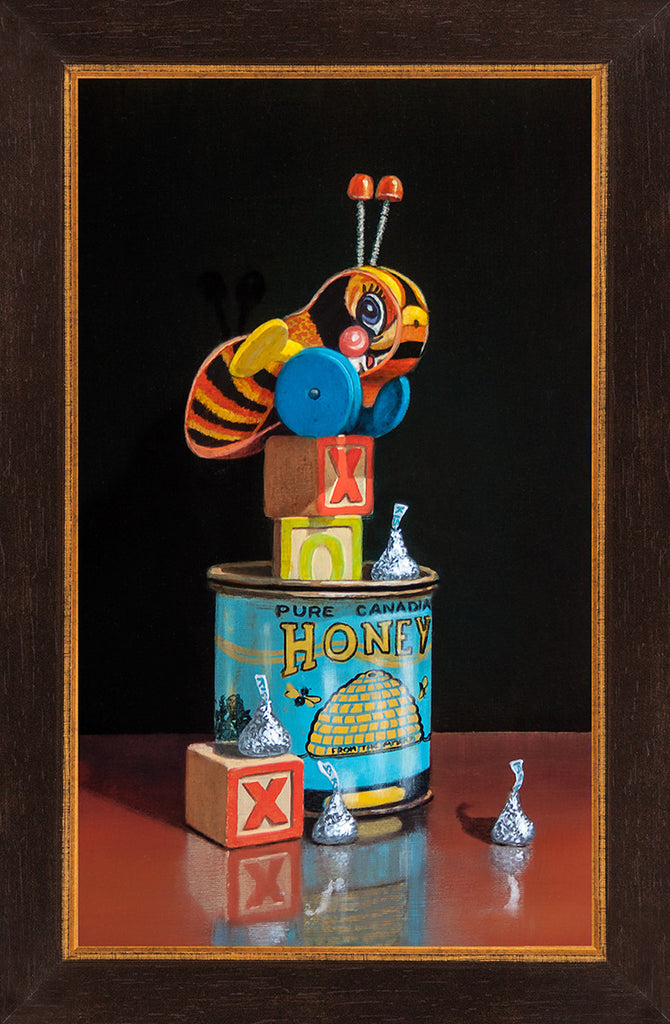 BeLoved, Buzzy bee, honey, kiss, blocks, framed canvas print, Richard Hall Fine Art