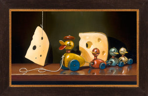 Cheese and quackers, toy ducks, Richard Hall, framed canvas giclee print, visual humor with toys