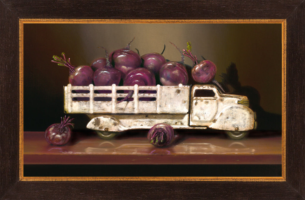 Beet Up Truck, vintage toy truck, beets, Richard Hall, framed canvas print