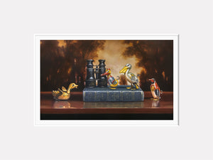 Birdwatching, Tin bird, book, binoculars, diorama, matted giclee print, richard hall