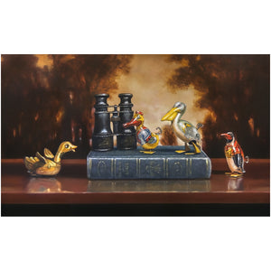 Birdwatching, Tin bird, book, binoculars, diorama, canvas giclee print, richard hall