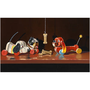Bone of Contention, doggie pull toy, canvas giclee print, Richard Hall Fine Art, still life