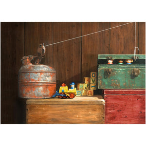 Breakout, escape, blocks, little people, matted print, Richard Hall Fine Art, Still Life