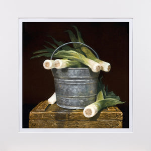 Bucket Full of Leeks, pail, leeks, leaks, Richard Hall Matted print