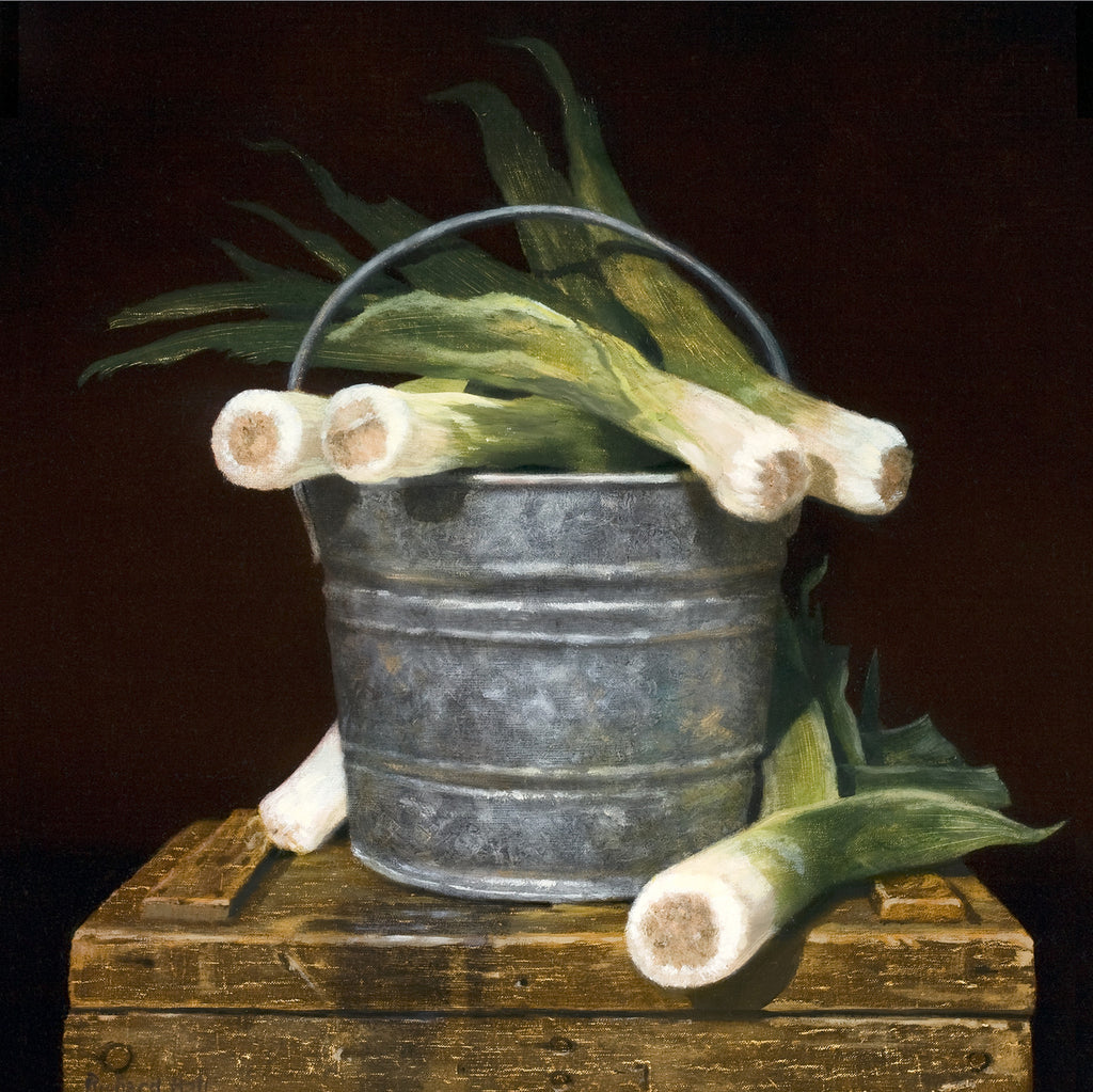 Bucket Full of Leeks, pail, leeks, leaks, Richard Hall canvs giclee print