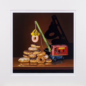 Building the Food Pyramid, Donuts, Steam Shovel, Mats, Richard Hall print