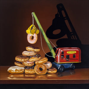 Building the Food Pyramid, Donuts pyramid, Steam Shovel, Richard Hall Print, still life, Diet humor