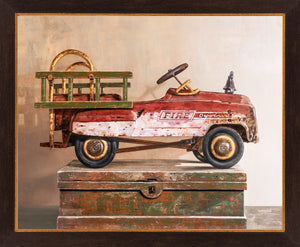 Call to duty, pedal car, fire truck, framed giclee print, toy,  Richard Hall fine art, still life