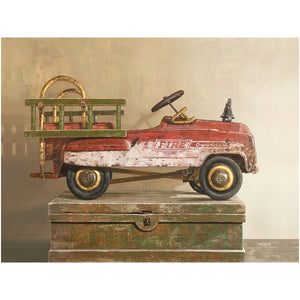 Call to duty, pedal car, fire truck, canvas giclee print, toy,  Richard Hall Fine Art, still life