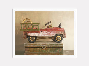 Call to duty, pedal car, fire truck, print, toy, mat Richard Hall
