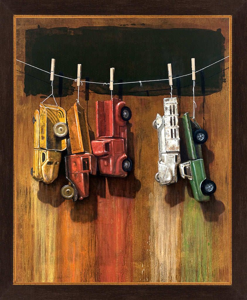 Car Wash, visual humor painting, trucks, line, clothespins, framed canvas giclee print, Richard Hall