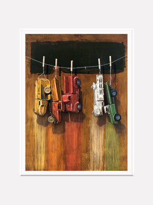 Car Wash, visual humor painting, trucks, line, clothespins, matted print, richard hall