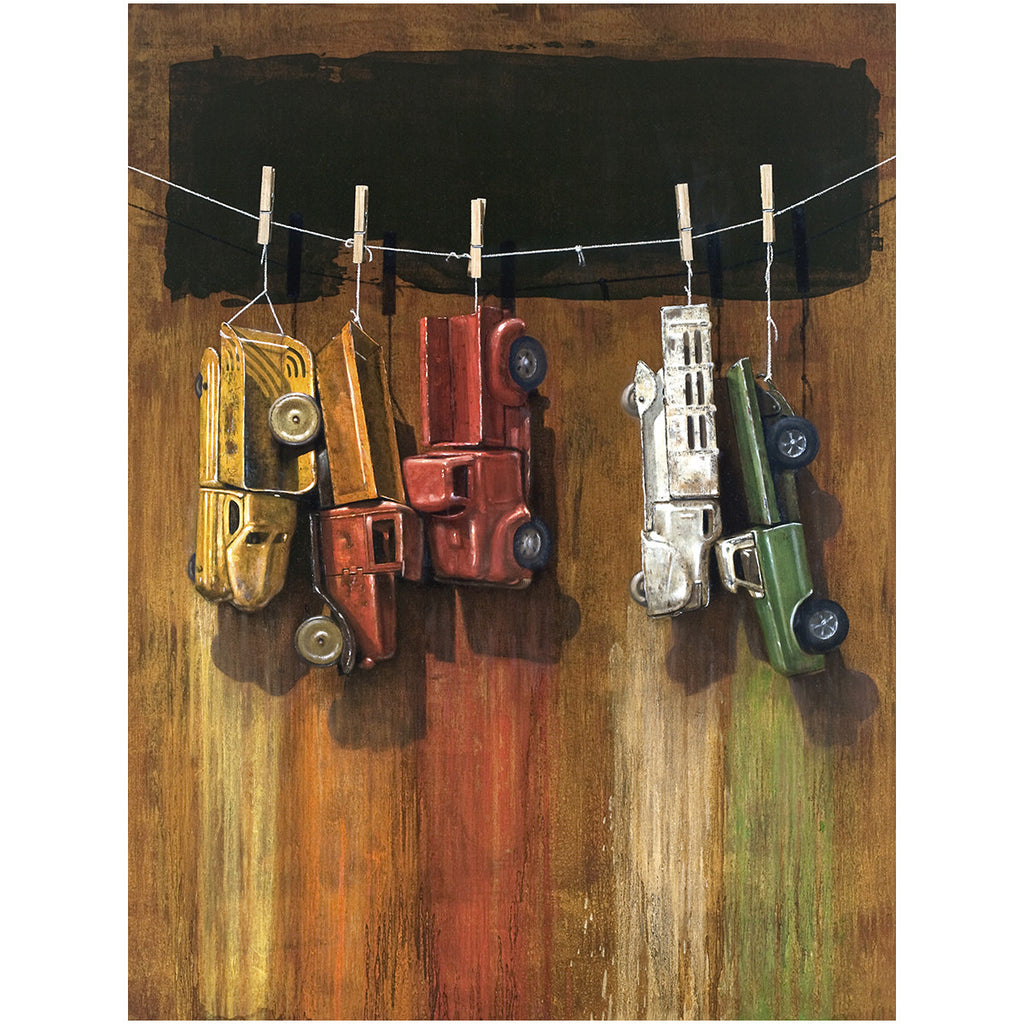 Car Wash, visual humor painting, trucks, line, clothespins, canvas giclee print, Richard Hall