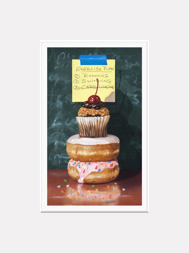 Exercise Plan, post-it note, donuts, cupcake, Richard Hall matted giclee print, diet humor