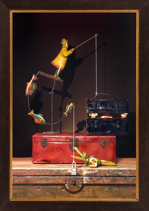Catch and release, Richard Hall painting, toys escape lunchbox, framed canvas giclee print, Richard Hall Fine Art, Still Life