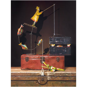 Catch and release, Richard Hall painting, toys escape lunchbox, canvas giclee print, Richard Hall Fine Art