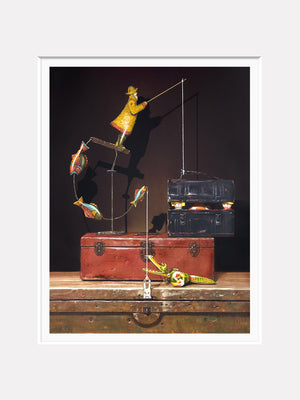 Catch and release, Richard Hall painting, toys escape lunchbox, matted print Richard Hall Fine Art