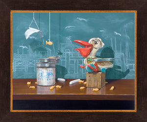 Catch of the day, Richard Hall, framed giclee print, pelican toy, fishermans wharf, chalkboard, origami