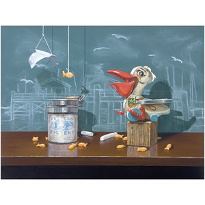 Catch of the day, Richard Hall, canvas giclee print, pelican toy, fishermans wharf, chalkboard, origami