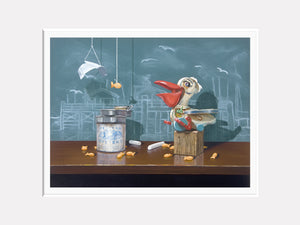 Catch of the day, Richard Hall matted print, pelican toy, fishermans wharf, chalkboard, origami