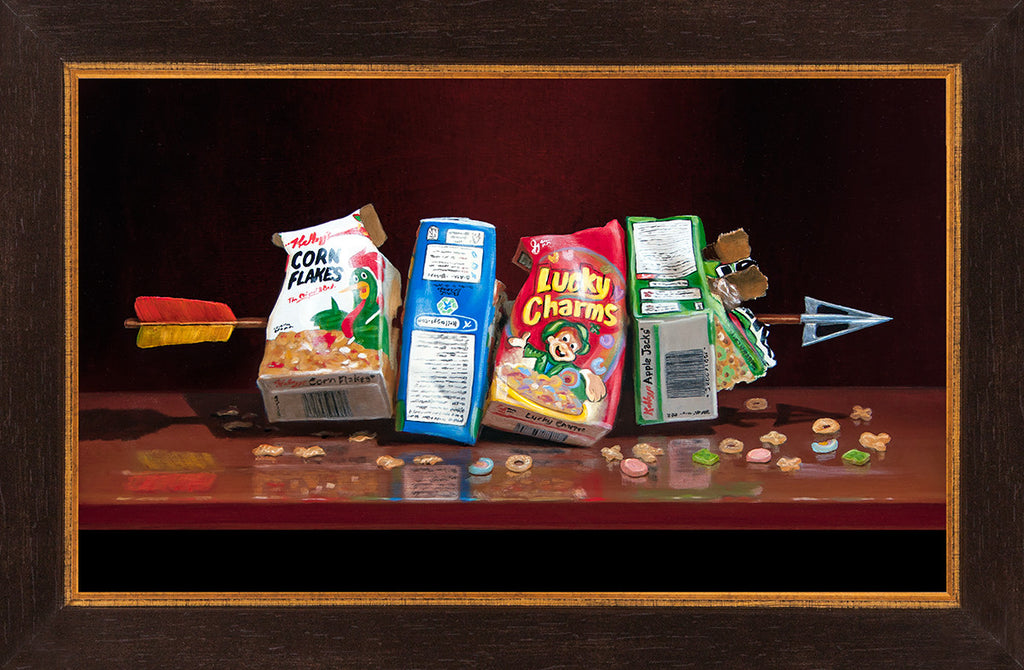 Cereal Killer, visual pun, Richard Hall Fine Art, framed canvas giclee print, arrow through cereal boxes, dark humor