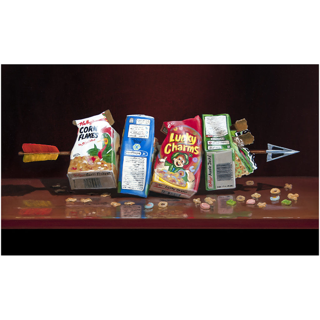 Cereal Killer, visual pun, Richard Hall Fine Art, canvas giclee print, arrow through cereal boxes, dark humor