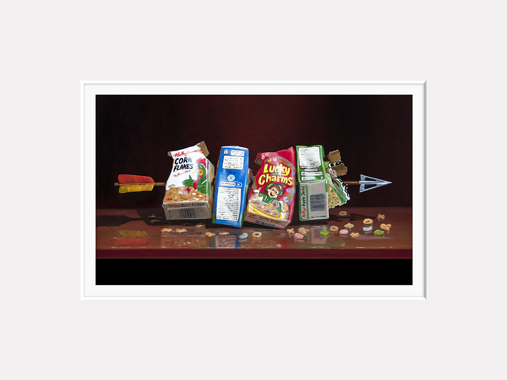 Cereal Killer, visual pun, Richard Hall matted print, arrow through cereal boxes, dark humor