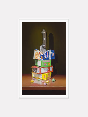 Cereal Killer, Richard Hall matted print, visual pun, cereal boxes with knife