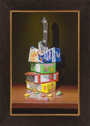 Cereal Killer, Richard Hall, framed canvas giclee print, visual pun, cereal boxes with knife