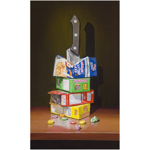 Cereal Killer, Richard Hall, canvas girl print, visual pun, cereal boxes with knife