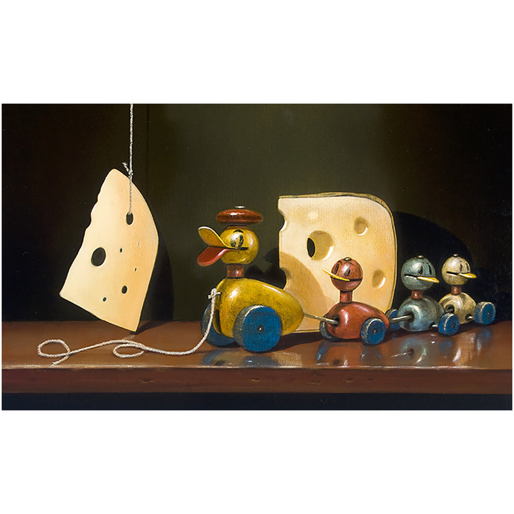 Cheese and quackers, toy ducks, Richard Hall, canvas giclee print, visual humor with vintage toys