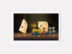 Cheese and quackers, toy ducks, Richard Hall matted print, visual humor with toys