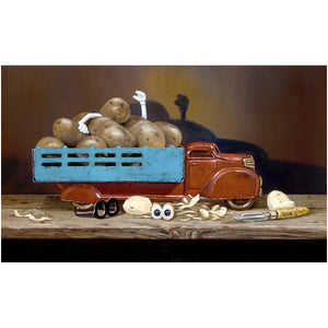The Chips Are Down, toy truck full of potatoes, Mr potato head toy, Richard Hall, print